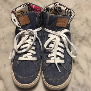 Coach Ellis Denim Poppy Hi Top Sneaker 7 B EUC